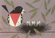 """""""Rose-breasted Grosbeak"""" for the Ford Times.  Love the three little babies sticking their heads up."""