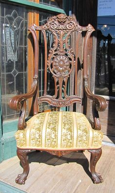 VICTORIAN WALNUT FIGURAL CARVED HIGH BACK ARM CHAIR W FACE