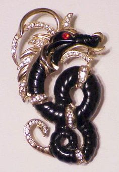 Hattie Carnegie ebony dragon brooch in Jewelry & Watches, Vintage & Antique Jewelry, Costume | eBay