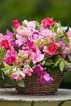 Basket full flowers