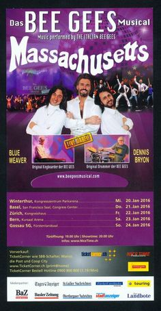 MASSACHUSETTS - BEE GEES MUSICAL - 2016 - ORIGINAL FLYER