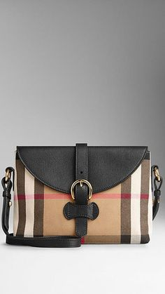 Burberry Bag Small House Check And Leather Crossbody | BLACK | GIANNOPOULOS.GR | Europe