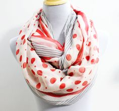 Stripe and Polka Dot Infinity Scarf Chunky by dailyaccessoriez, $17.99