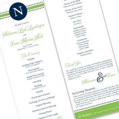 Preppy Monogram  - Unique Wedding Program by The Green Kangaroo
