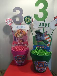 Here are the decorations I made for a Paw Patrol Birthday party... actually, Zombies invade Paw Patrol Adventure Bay! Super PAWSOME!! ...