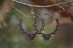 Macrame earrings TRIBAL QUEEN ethnic gypsy by NamasteMacrameArt