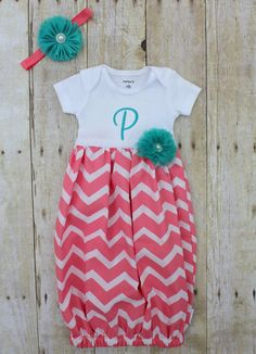 Newborn Going Home Outfit - Gown - Coral Chevron - Aqua - Teal - T-Shirt Dress - Baby Shower Gift - With Shabby Flower Headband Newborn Coming Home Outfit, Going Home Outfit, Newborn Outfits, Girl Outfits, Ocean Baby Showers, Coral Chevron, Baby E, Rose Boutique, Shabby Flowers