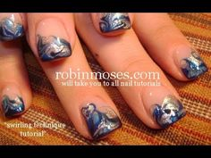 marbling without water blue design. robin moses swirls nail art tutorial