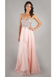 A line Sweetheart Chiffon Beading Pink Prom Dress
