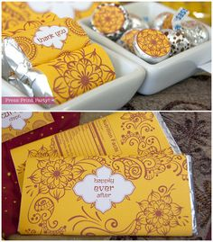 Indian Red and Yellow Party Printables inspired by Wedding henna by PressPrintParty. mehndi chocolate and kiss favors #a1eventrentals #mydreamevent2014