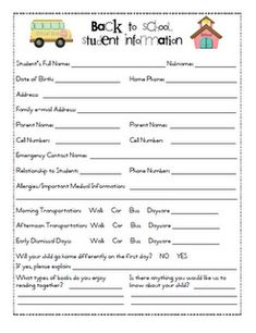 Back to School Information Sheet for parents to fill out at open house