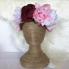 PEONY PRINCESS Artificial Flower Crown / Floral Wreath / Racewear / Girl / Hair Flowers Fake Flower Silk Fascinator Pink Magenta Lavender by FauxFloralCo on Etsy https://www.etsy.com/au/listing/479937515/peony-princess-artificial-flower-crown
