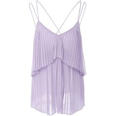 Elie Saab Pleated Tank Top ($725) ❤ liked on Polyvore featuring tops, elie saab, shirts, tanks, cross back tank, light purple top, purple top, spaghetti-strap tank tops and polyester shirt