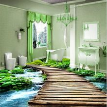 Moderne Toiletten Benutzerdefinierte 3D Boden Malerei Wand Badezimmer  Tragen Rutschfeste Wasserdicht Verdickt Selbstklebende PVC Tapeten Aufkleber