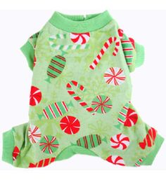 Christmas Puppy Pajamas Cozy Warm Flannel Green Peppermint Candies                                                                                                                                                                                 More