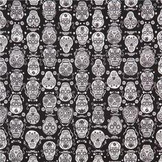 "black glow in the dark folklore skulls sugar skull fabric  ""Halloween collection"""