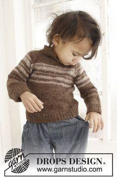 William / DROPS Baby 21-29 - Strikket bluse med raglan og striber til baby og børn i DROPS Lima