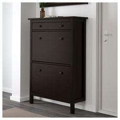HEMNES Shoe cabinet with 2 compartments, black-brown, A place to organize and store all your shoes, making life on the go a little easier. The simple, classical design with a touch of tradition looks great with other furniture in the HEMNES series. Closet Shoe Storage, Locker Storage, Ikea Storage, Shoe Closet, Ikea Hemnes Shoe Cabinet, Shoe Dresser, Shoe Cabinet Design, Dressing Ikea, Trofast Ikea