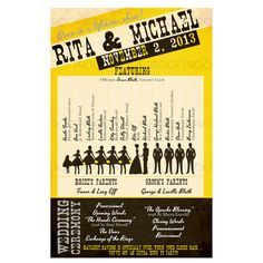 Concet Poster Wedding Program // Silhouette by EartherealDesign, $30.00
