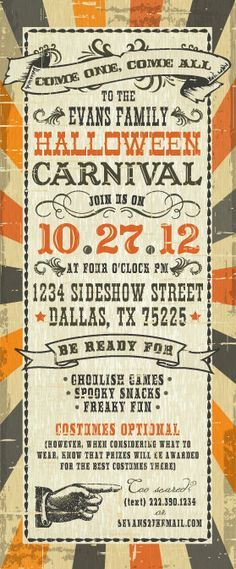 PRINTABLE 3x9 Vintage Halloween Carnival party invitation more halloween party help at http://halloween-party.fastblogger.uk/