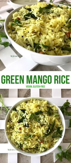 Green Mango Rice Recipe ~ A mango recipe that you can try any time of the year because you need raw (green) mangoes for this one. It is a simple, quick and easy recipe for Green Mango Rice that everyone in your family will love! Side Dish Recipes, Lunch Recipes, Vegetarian Recipes, Dinner Recipes, Cooking Recipes, Healthy Recipes, Best Side Dishes, Healthy Side Dishes, Vegetable Side Dishes