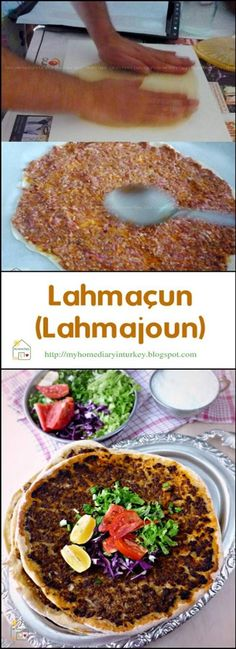 LAHMACUN is an item of prepared food originating in the early Turkish cuisine of. - LAHMACUN is an item of prepared food originating in the early Turkish cuisine of the Levant, consist - Turkish Flat Bread, Turkish Pizza, Turkish Recipes, Ethnic Recipes, Arabic Recipes, Kebab Meat, Roasted Chicken Wings, Dough Ingredients, Cabbage Salad
