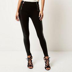 Black coated panel zip leggings