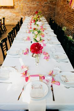 colorful reception tablescape, photo by Love Katie and Sarah http://ruffledblog.com/a-brooklyn-wedding-for-two-actors #tablescapes #weddingreception