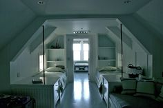 Built in bookshelves are adorable and I have always loved slanted ceilings! Preshhhh