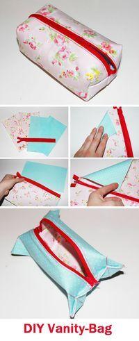 Sewing a Cute DIY Vanity Bag Tutorial http://www.handmadiya.com/2017/04/sewing-cute-diy-vanity-bag.html