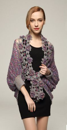 Posting here for idea. Link goes to product sales. Crochet Shrug Cardigan Sweater Elbow Sleeve by Crochet Cardigan Pattern, Crochet Jacket, Crochet Blouse, Crochet Scarves, Crochet Shawl, Crochet Clothes, Crochet Shrugs, Crochet Sweaters, Crochet Flower