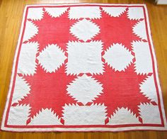 Antique Quilt Red White Feathered Star Folk by BarkingSandsVintage