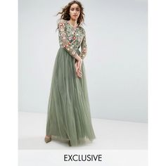 Needle and Thread Long Sleeve Embroidered Maxi Dress ($335) ❤ liked on Polyvore featuring dresses, green, long sleeve chiffon dress, floral chiffon dress, green sequin dress, maxi dresses and sequin maxi dress