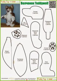 Teddy wolf pattern :D Plushie Patterns, Doll Patterns, Sewing Patterns, Bear Patterns, Sewing Toys, Sewing Crafts, Sewing Projects, Sewing Stuffed Animals, Stuffed Animal Patterns