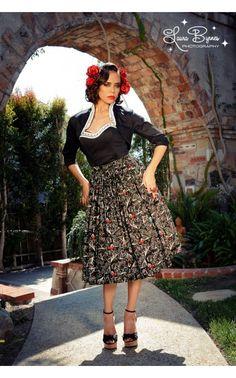 Jenny Skirt in Black Vintage Spanish Fan Print   Pinup Girl Clothing
