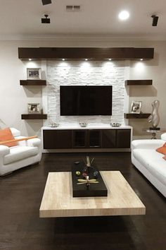 17 DIY Entertainment Center Ideas and Designs For Your New Home Do you have a brand-new house? If so, knowing about DIY entertainment center suggestions may be essential for you. We have 17 inspiration for you Living Room Modern, Home Living Room, Living Room Decor, Tv Wall Ideas Living Room, Living Area, Stone Wall Living Room, Cozy Living, Simple Living, Apartment Living