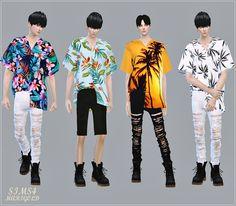 Male_Hawaiian Shirts Unbalance_하와이안 셔츠 언발란스_남자 의상 - SIMS4 marigold