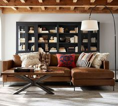 Jake Leather Sofa with Chaise Sectional - Pottery Barn