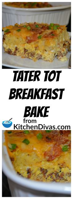 This Tater Tot Breakfast Bake is an easy way to make breakfast or brunch for a crowd.  You can easily adjust the amount of sausage or bacon you use.  For that matter I have used leftover ham and it tasted great!  You can chop and sauté peppers and mushrooms with your onions. This dish even tastes great with a little or a lot of cheese.  I leave that up to you.  You have to try to make your own version of this breakfast bake!  Delicious! #tater #breakfast #brunch #bake #casserole #eggs