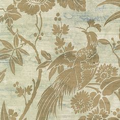 Blue and Gold Floral With Birds Wallpaper