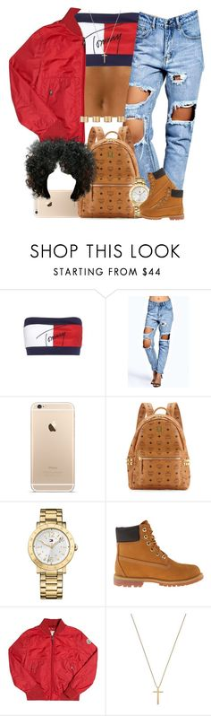 """""""Aaliyah. """" by livelifefreelyy ❤ liked on Polyvore featuring Tommy Hilfiger, Boohoo, MCM, Timberland, Moncler, Gucci, Maison Margiela, women's clothing, women's fashion and women"""