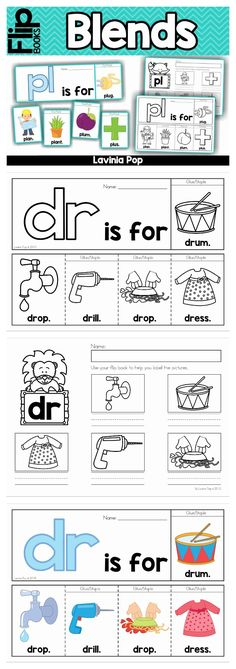 Beginning Blends flip books (color and black & white). Also includes recording page for children to write the words from each booklet. Kindergarten Language Arts, Kindergarten Classroom, English Kindergarten, First Grade Phonics, 1st Grade Writing, Word Study, Word Work, Phonics Activities, Learning Activities