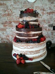 Naked wedding cake!  Chocolate and almond, and filled with fresh fruit. #nakedweddingcake #kelleykakes #nakedcake #denverweddingcake www.kelleykakes.com Cake Chocolate, Fresh Fruit, Denver, Wedding Cakes, Almond, Naked, June, Desserts, Food
