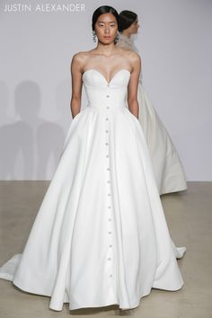 Look 6  |  88025  |  Sweetheart Satin Ball Gown with Crystal Buttons