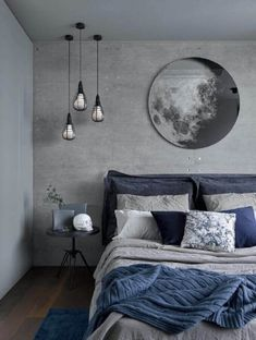 a chic grey and navy bedding set plus a blue rug enliven the grey bedroom Home . a chic grey and navy bedding set plus a blue rug enliven the grey bedroom Home Decoraiton a chic grey and navy bedding set plus a blue rug enliven the grey bedroom Blue Bedroom Decor, Bedroom Colors, Home Bedroom, Modern Bedroom, Bedroom Furniture, Blue Gray Bedroom, Bedroom Neutral, Trendy Bedroom, Navy Blue Bedrooms