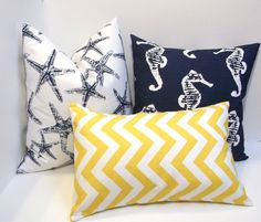 Navy blue and corn yellow 3 pc set  pillow covers, starfish nautical design slub, linen-like fabric, accent decor. $49.00, via Etsy.