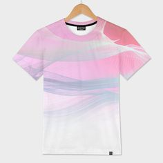 Buy 'FLOW MOTION VIBES 1. Pink, Violet and blue/grey on All Over Men's T-shirt  | . Design by Dominique Vari . | . Curioos | Exclusive Art Prints by the world's finest Digital Artists    Spontaneous hand drawing transformed digitally into an etherial fluid 'mesh' Art to convey emotions. Beautiful & abstract, this modern minimal piece in ombre pink, violet & grey is a perfect choice to spread the good vibes on Men's T-shirt.