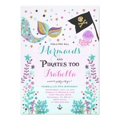 Shop Mermaid And Pirate Birthday Invitation created by PixelPerfectionParty. Mermaid Party Invitations, Pirate Birthday Invitations, Free Printable Birthday Invitations, Party Printables, Mermaid Birthday, 8th Birthday, Birthday Parties, Under The Sea Party, Pirate Party
