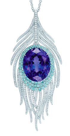 Tiffany & Co., Peacock Pendant with oval tanzanite, cuprian elbaite tourmalines and diamonds. I love [peacock feathers] Tiffany & Co., Tiffany Outlet, Tiffany Green, Ideas Joyería, Do It Yourself Jewelry, Bling, Tiffany Jewelry, Tiffany Rings, Schmuck Design
