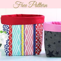 Fabric Box Pattern, Fabric Boxes Tutorial, Pouch Tutorial, Wallet Pattern, Fabric Storage Baskets, Sewing Baskets, Storage Pods, Bags Sewing, Sewing Patterns Free